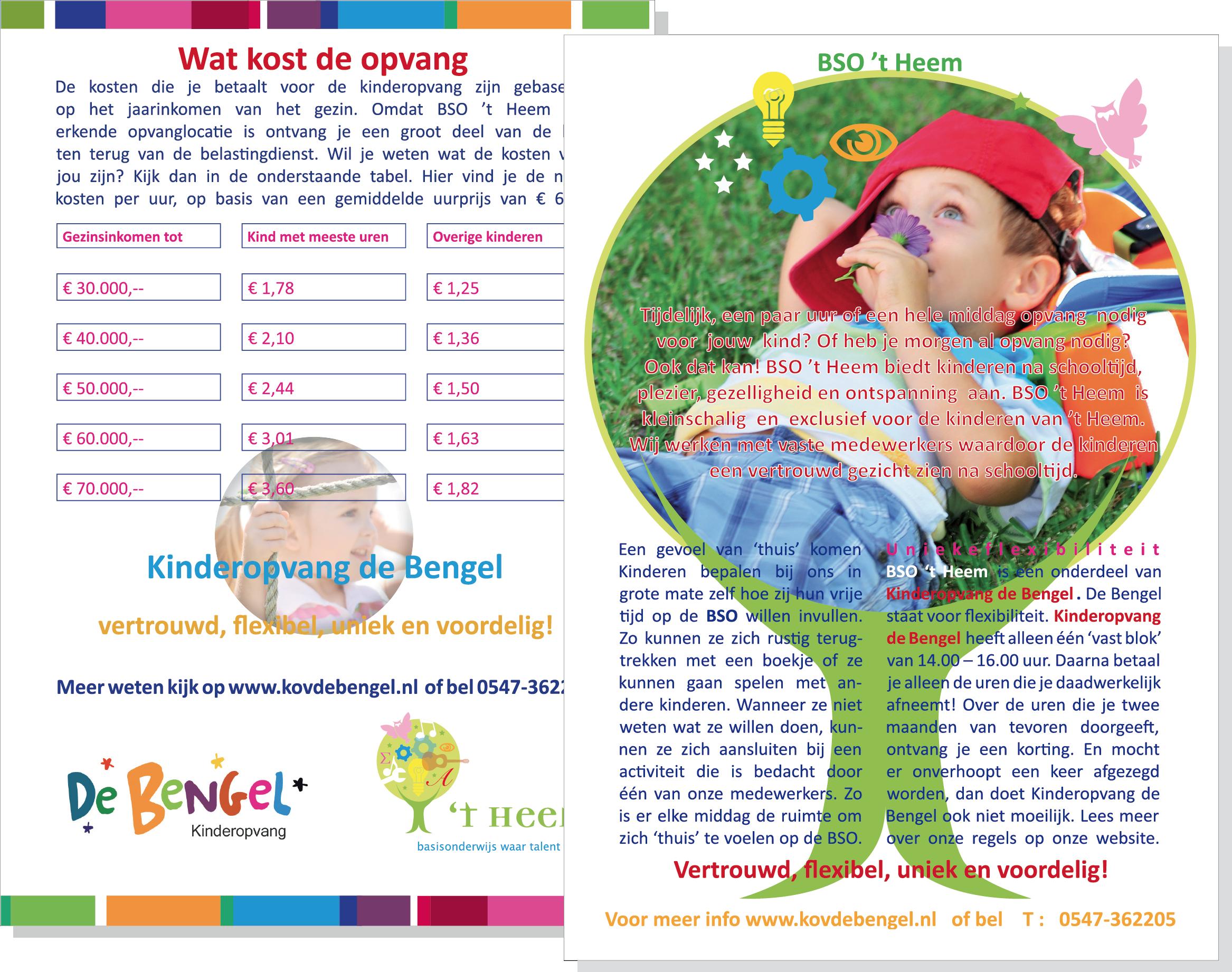 Flyer ontwerp in huisstijl GOB de Bengel en BSO 't Heem