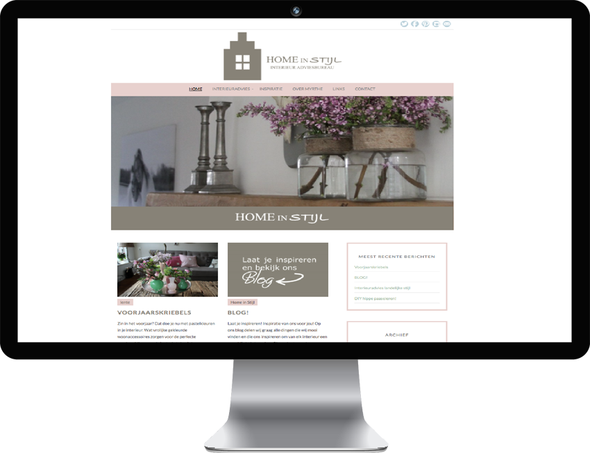 Website voor Home in Stijl by Myrthe Grob.