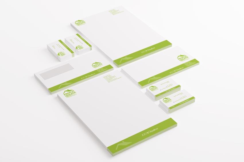 Huisstijl enveloppe, briefpapier en businesskaarten.