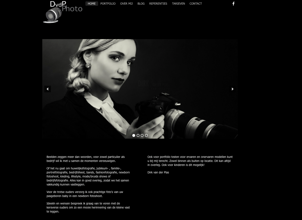 wordpress website Dirk vd Plas-fotografie
